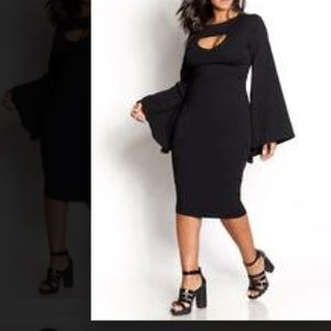 Bell sleeve little black dress
